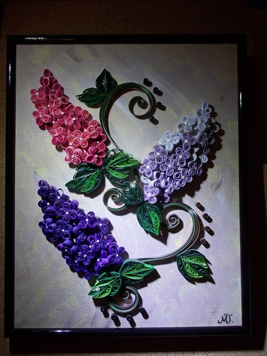 3D Lilac - handmade quilling picture on manually painted canvas 24x30cm